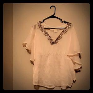 Cream sequin blouse